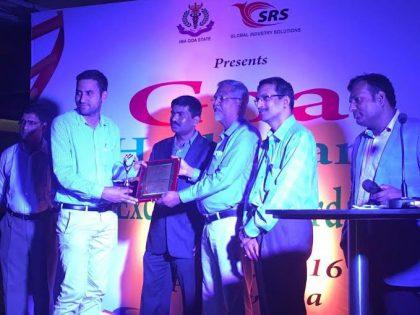 Manoj Mor, CEO of Technomed India receiving 'Healthcare Excellence Award' in Goa