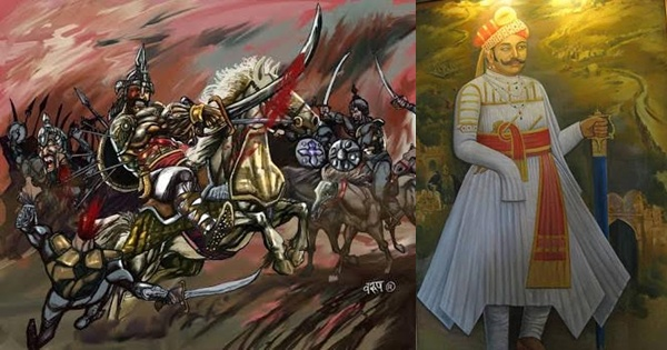 Rana Sanga in the battle of Khatoli in Rajasthan against Ibrahim Lodhi the Sultan of Delhi