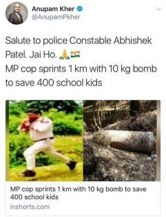 police constable Abhishek Patel tweet by Anupam Kher