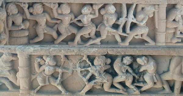 An 11th century carvings from Kiradu ruins of Rajasthan, depicting women empowerment. Women practicing the art of warfare