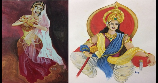 Urnabhih - Misrakesi and Chandragupta Maurya; Art by Ruchira Nag Verma