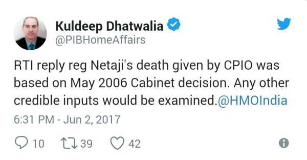 tweet on Netaji Bose