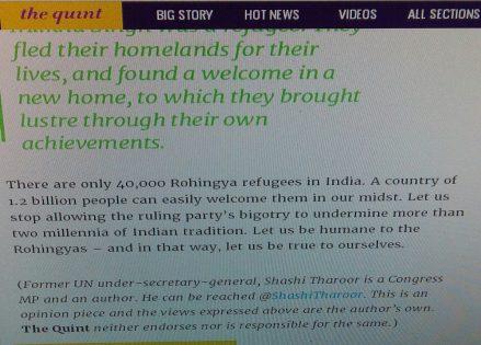 Rohingya opinion by Shashi Tharoor