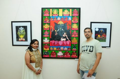 Pratyasha Nithin with the 32 Ganesha painting