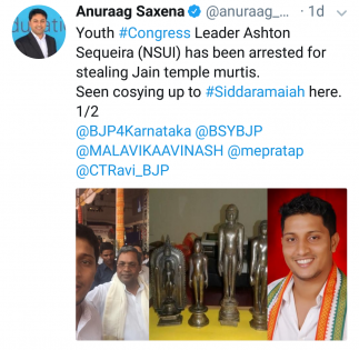 Jain idol theft by Youth Cong leader