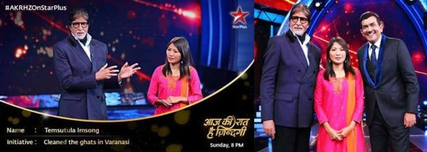 Temsutula Imsong in Star Plus with Amitabh Bacchan