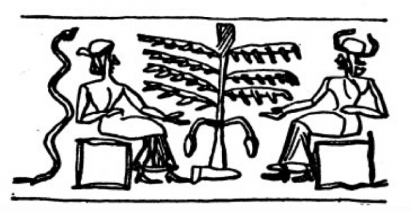 A Sumerian cylinder seal.