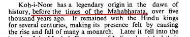 History of Kohinoor