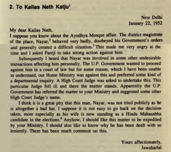 Nehru letter